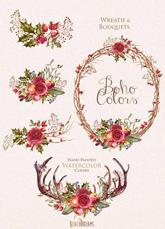 Boho clipart element. Watercolor flowers wreath and