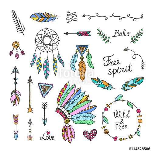Boho clipart element. Vector style elements hand