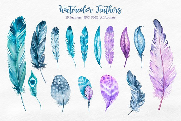 Beachy watercolor illustrations creative. Boho clipart feather