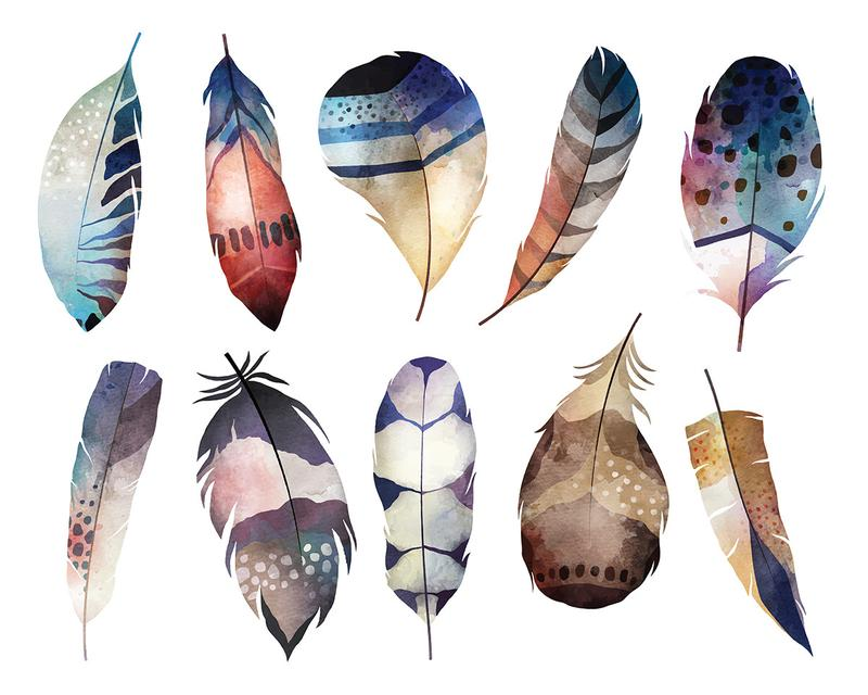 Boho clipart feather. Watercolor feathers digital clip