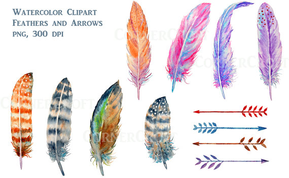 Watercolor feathers brown and. Boho clipart feather