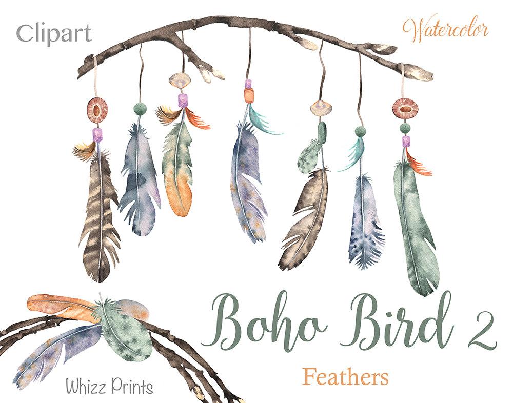 Boho clipart feather. Bird watercolor wreaths