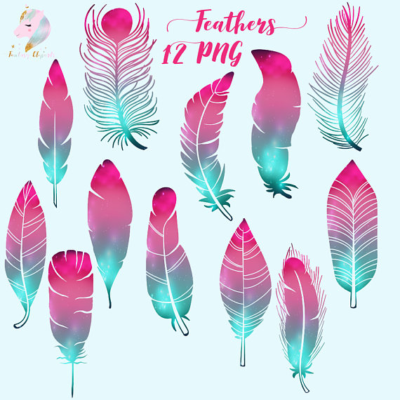 Galaxy feathers cosmic clip. Boho clipart feather