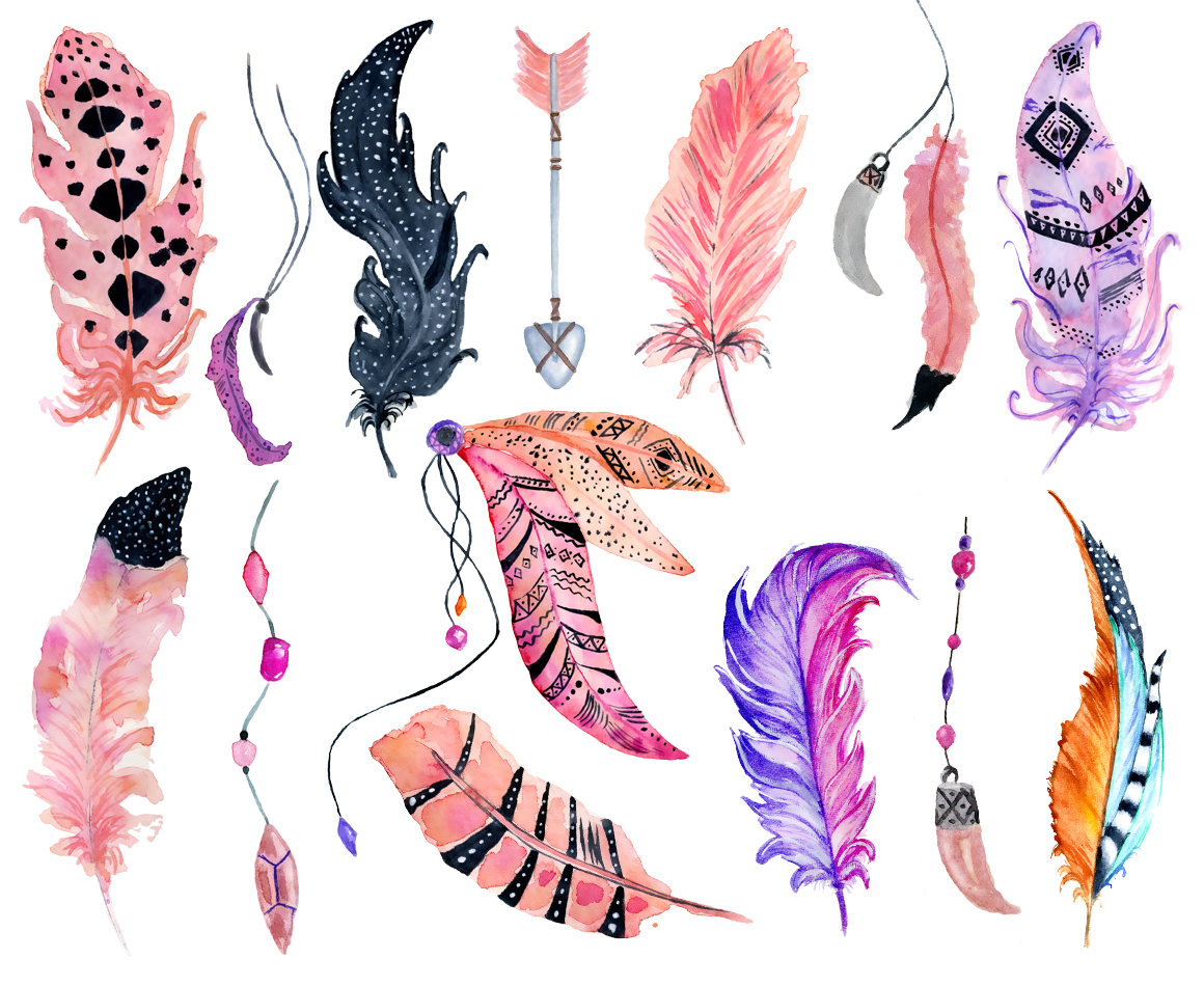 Boho clipart feather. Watercolor pink this is