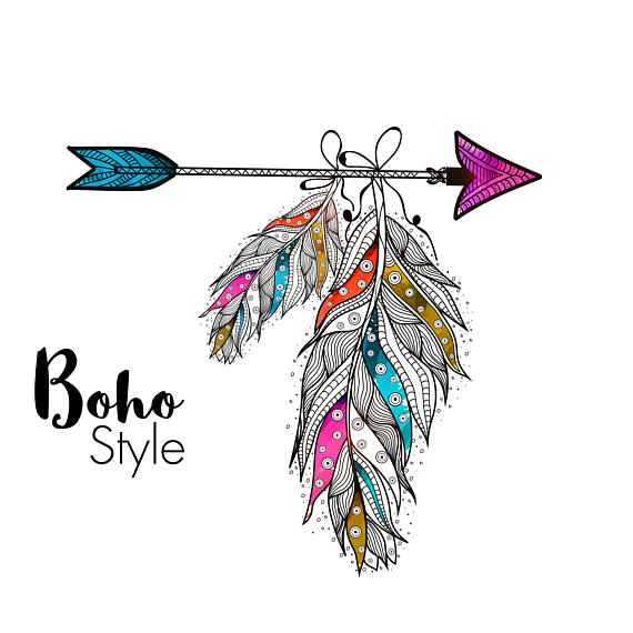 Arrow and ethnic style. Boho clipart feather