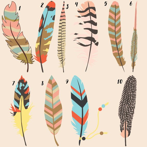 Tribal feathers art print. Boho clipart feather