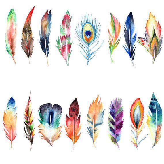 Watercolor aquarel . Boho clipart feather