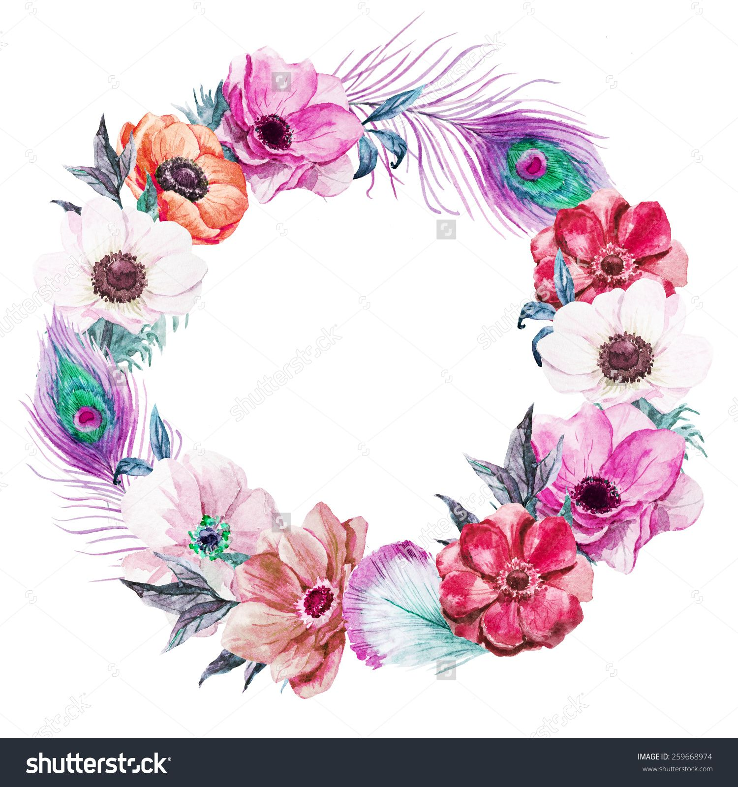 Wreath clipartfest printable images. Boho clipart feather