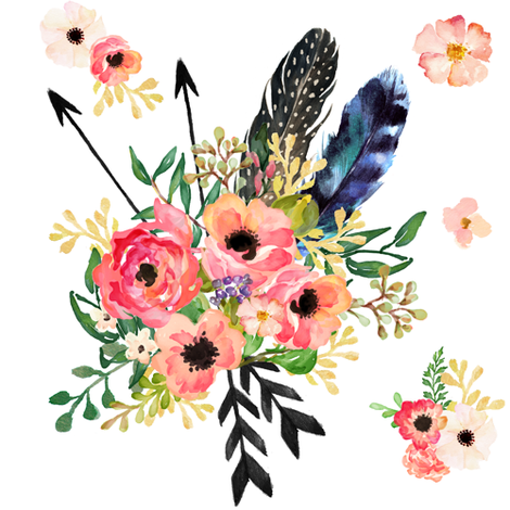 Dreams with arrows white. Boho clipart floral