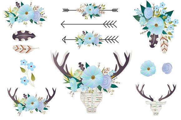 Clip art deer antlers. Boho clipart floral