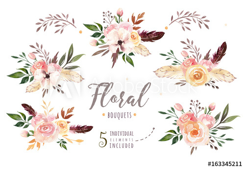 Boho clipart floral. Hand drawing isolated watercolor