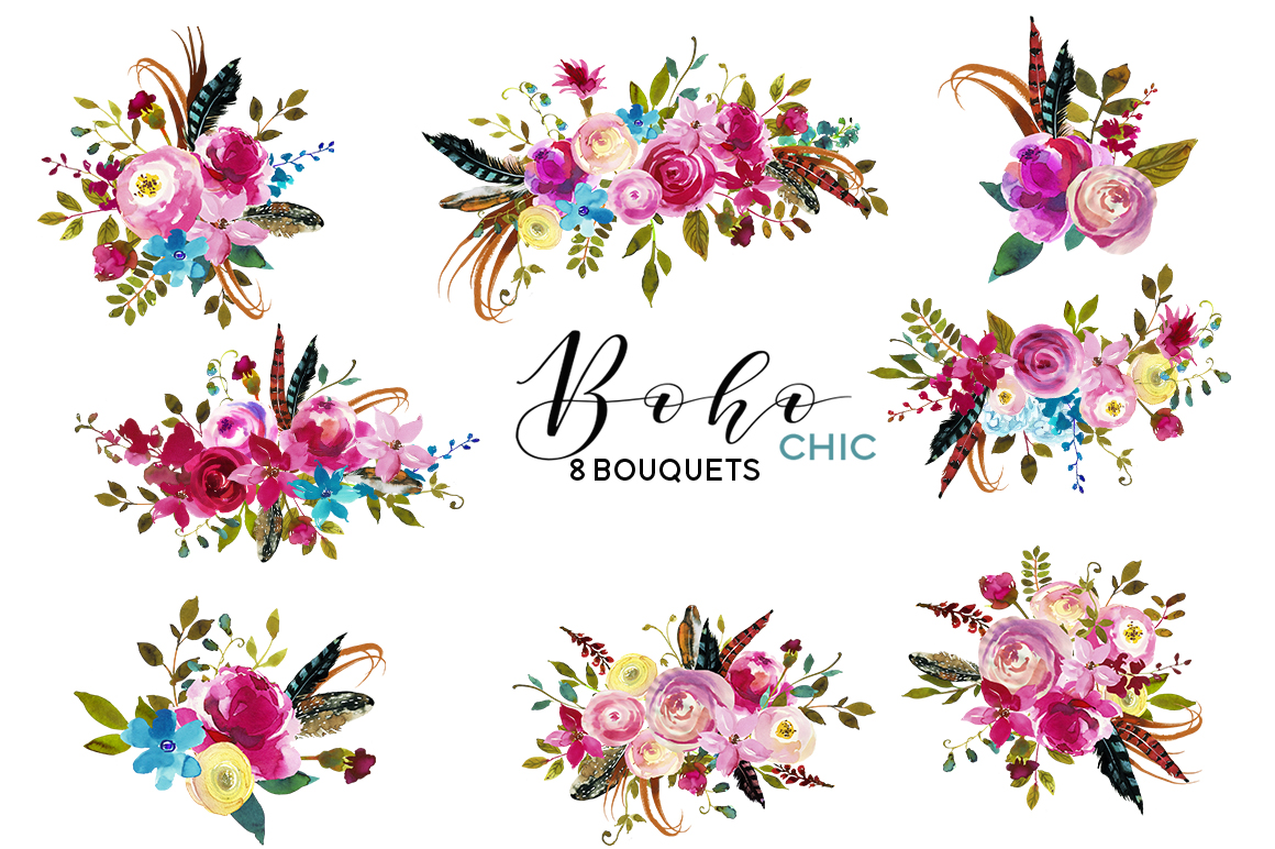 Chic pink watercolor flowers. Boho clipart floral