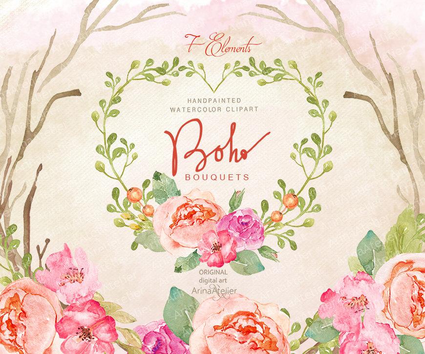 Boho clipart floral. Bouquets watercolor flowers