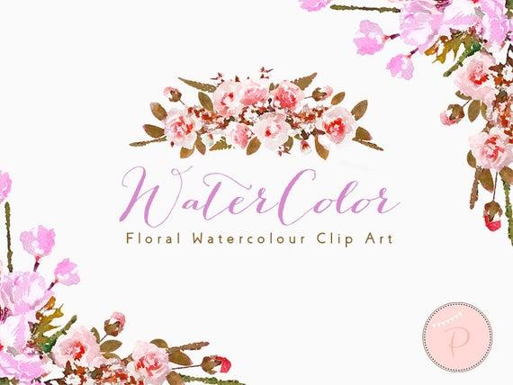 Watercolor clip art cliparts. Boho clipart floral