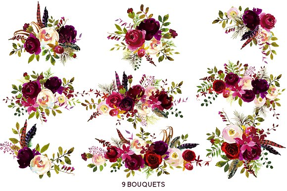 Bordo watercolor flowers illustrations. Boho clipart floral