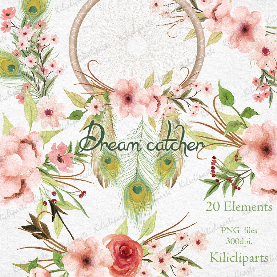 Dream catcher wedding invitation. Boho clipart floral