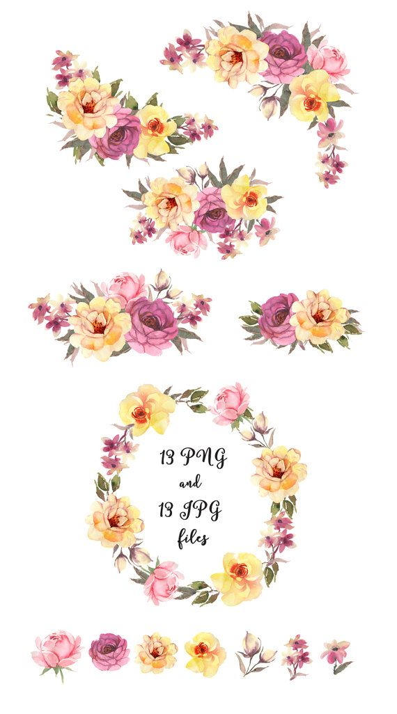 Pin on watercolor flower. Boho clipart floral