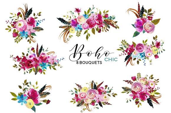 boho clipart floral
