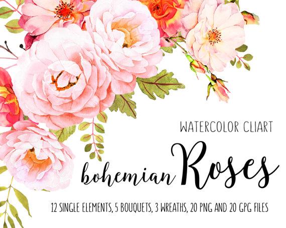 Roses watercolor clip art. Boho clipart flower