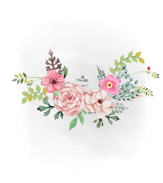 Boho clipart flower. Spring florals svg watercolor