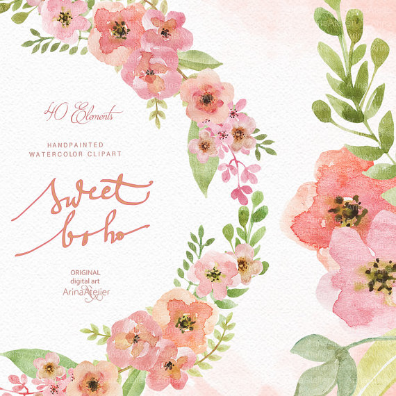 Sweet watercolor flowers wedding. Boho clipart flower