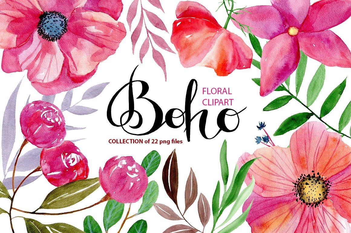 Watercolor flowers graphics creative. Boho clipart flower