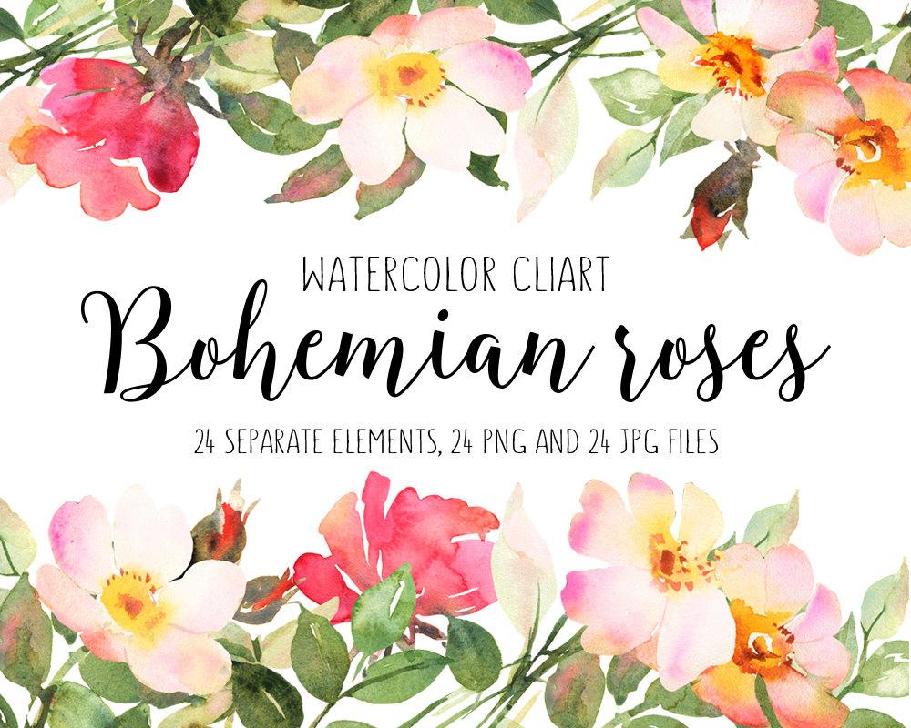 Bohemian roses hand painted. Boho clipart flower