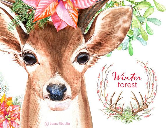 Deer watercolor digital pine. Boho clipart forest
