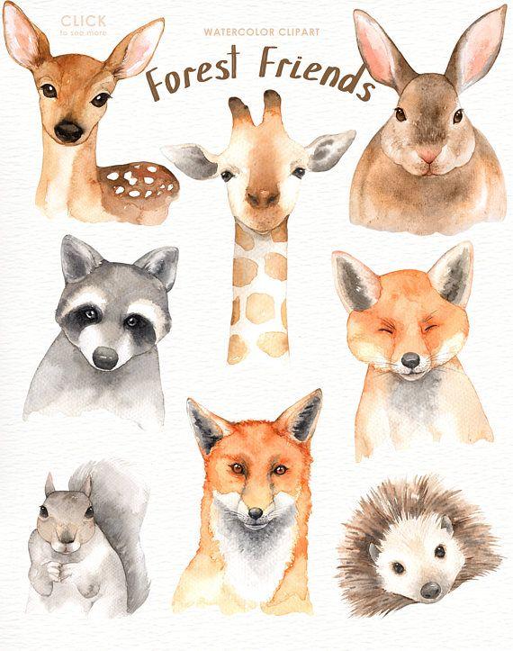 Boho clipart forest. Friends watercolor clip art