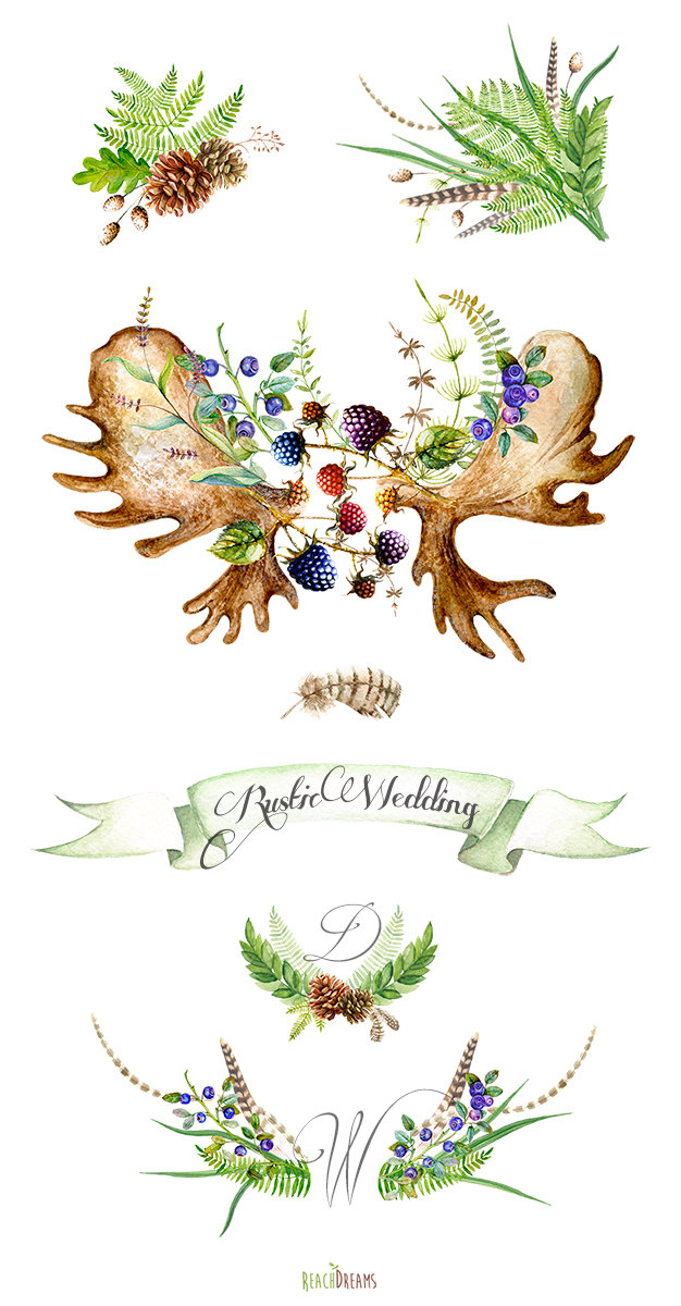 Watercolor wedding rustic hand. Boho clipart forest