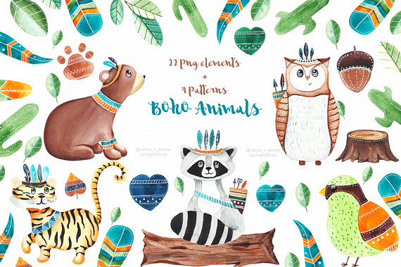 Boho clipart forest. Animals woodland baby watercolor