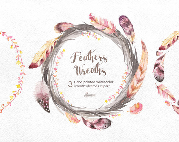 Feathers wreaths hand painted. Boho clipart frame