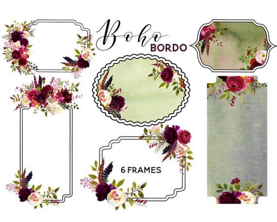 Boho clipart frame. Burgundy floral chic embellished