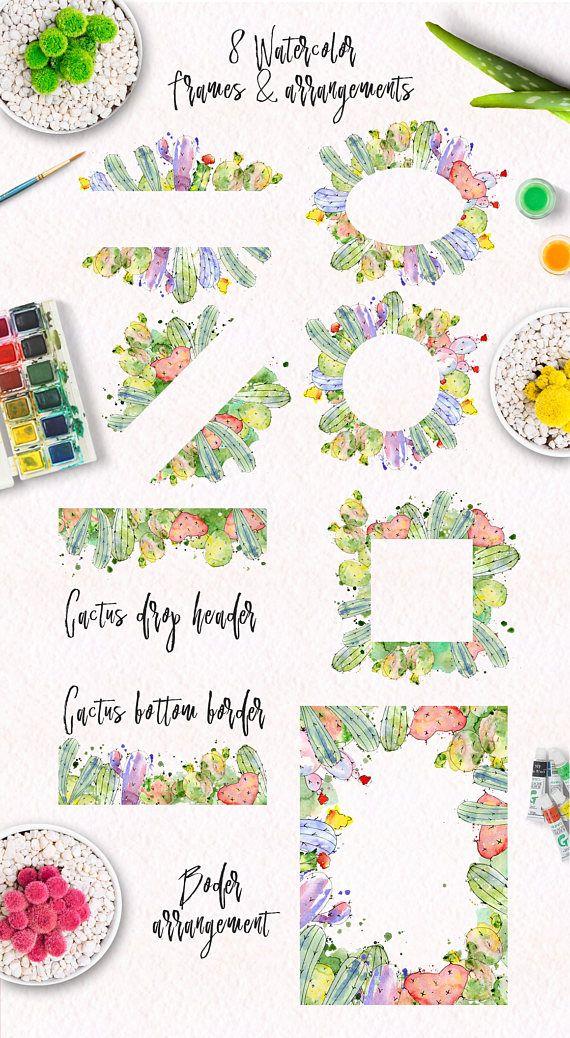 Watercolor cactus border arrangement. Boho clipart frame