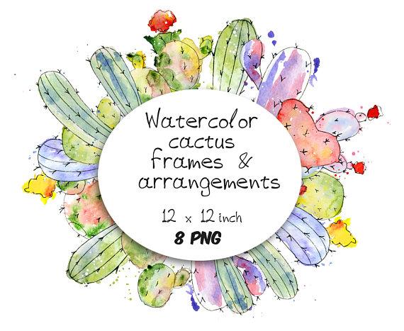 Boho clipart frame. Watercolor cactus border arrangement