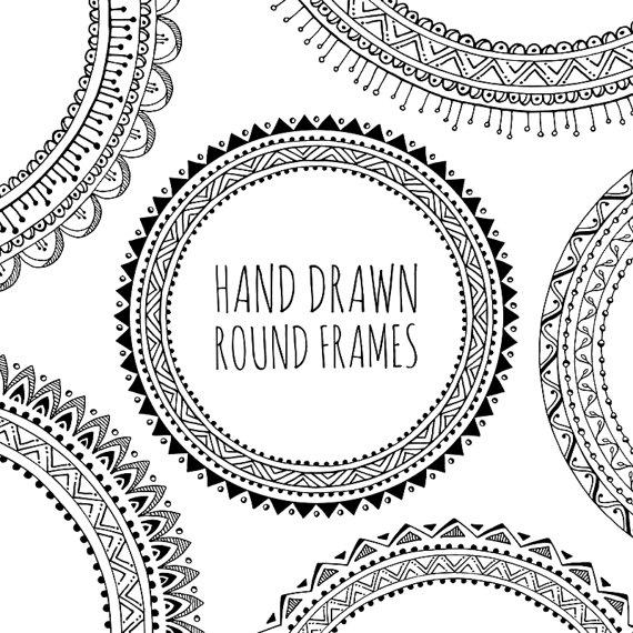 hand drawn decorative. Boho clipart frame