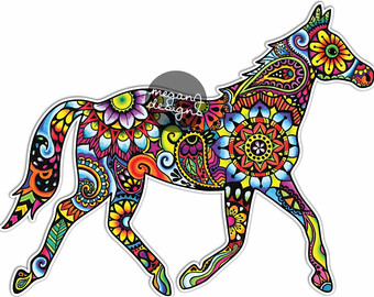 Boho clipart horse. Stickable art for your