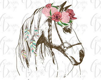 Etsy sublimation transfer for. Boho clipart horse