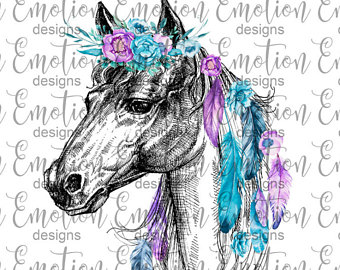 Boho clipart horse. Etsy feathers png instant