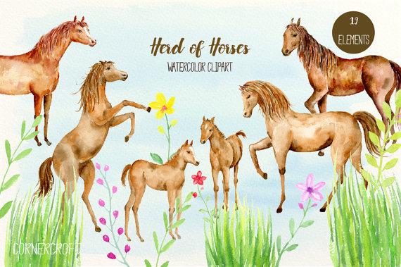 Clip art herd of. Boho clipart horse