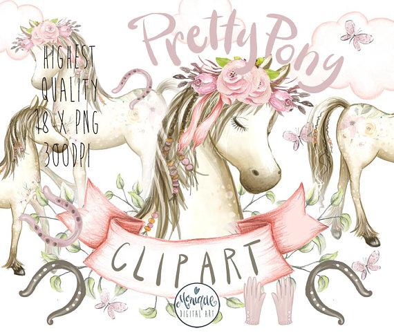 Boho clipart horse. Pony clipartpony watercolorhorse