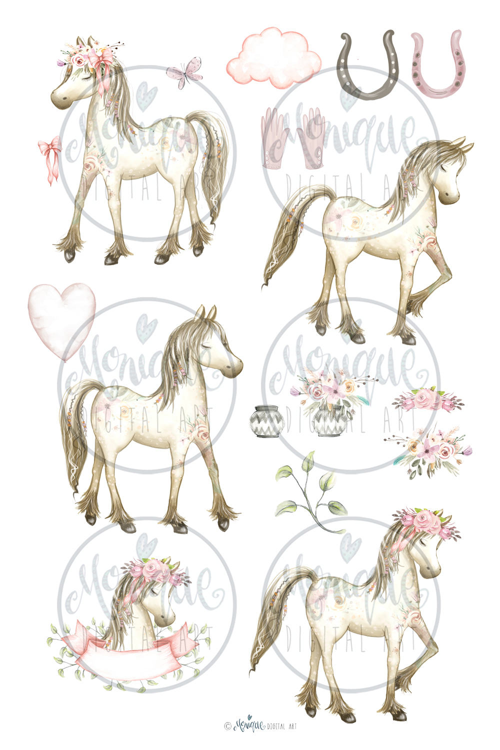 Pony watercolor this is. Boho clipart horse