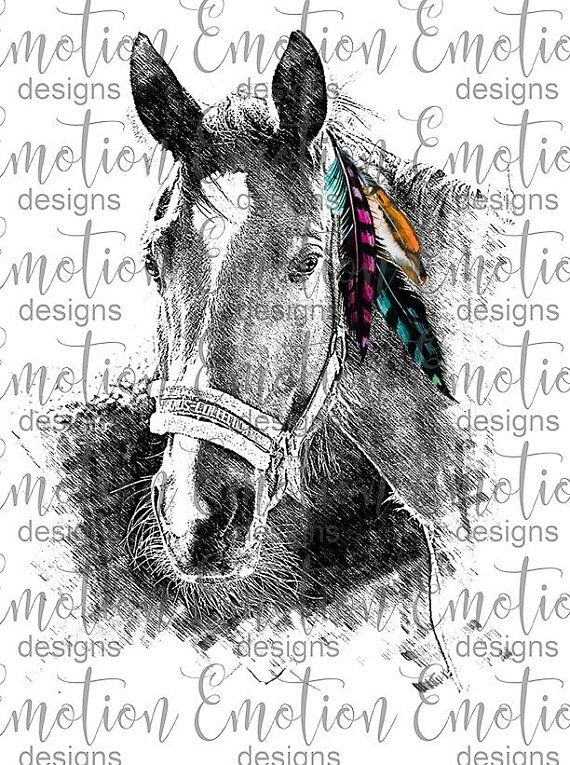 Feathers png instant download. Boho clipart horse