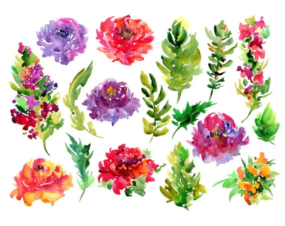 Watercolor floral bright flowers. Boho clipart leaf