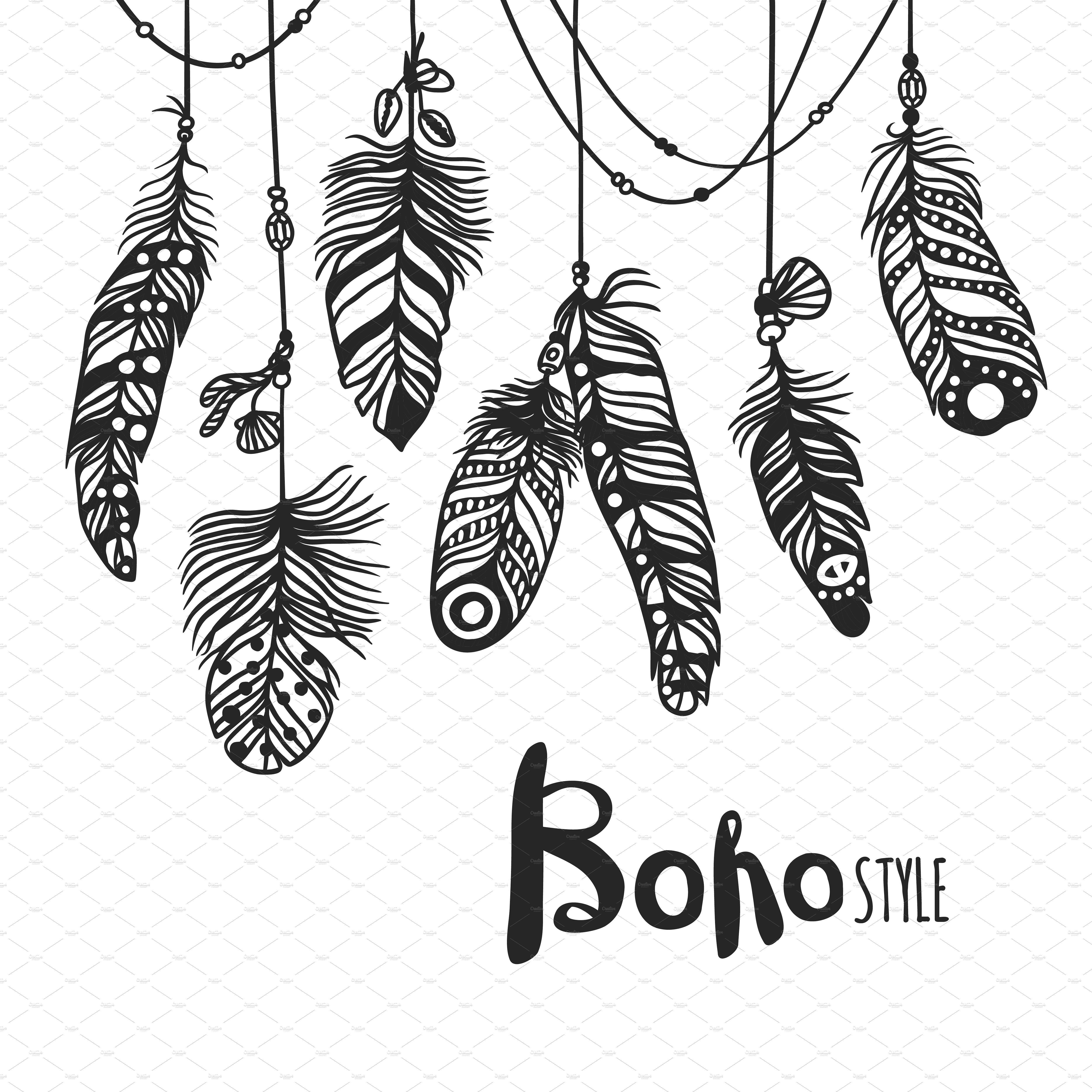 Boho clipart leaf. Feather hand drawn vector