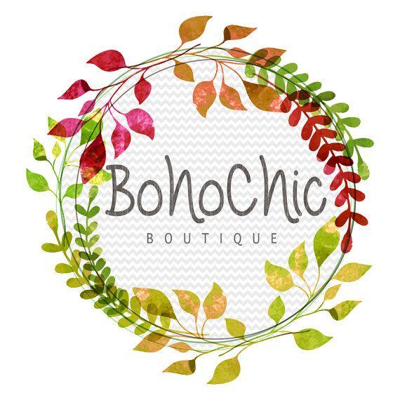 Chic logo premade custom. Boho clipart leaf