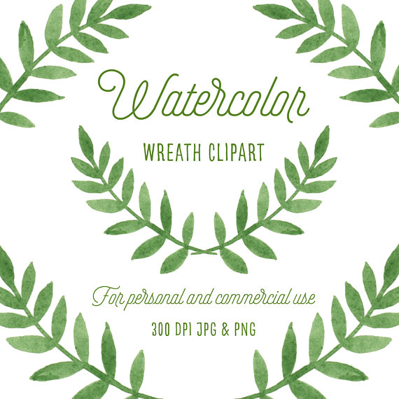 Watercolor wreath woodland . Boho clipart leaf
