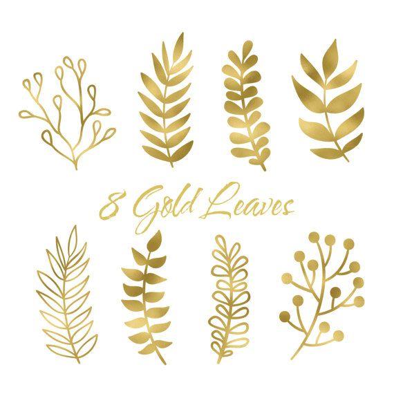 Boho clipart leaf. Gold clip art by