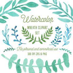 Boho clipart leaf. Watercolor leaves set wreath