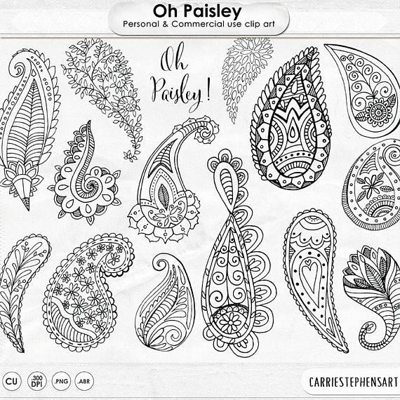 Paisley doodle art digital. Boho clipart line
